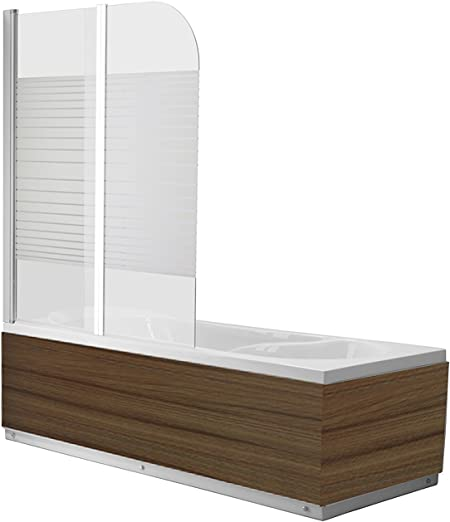 Vidrio Mampara Dallas Cristal satén Striped bañera plegable pared ducha pared bañera plegable pared al nano-recubrimiento – Vidrio de 6 mm – plegable: Amazon.es: Hogar