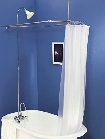 Add Shower To Clawfoot Tub. Add on Shower for Clawfoot Tub with Riser  Diverter Faucet Curtain and Rings