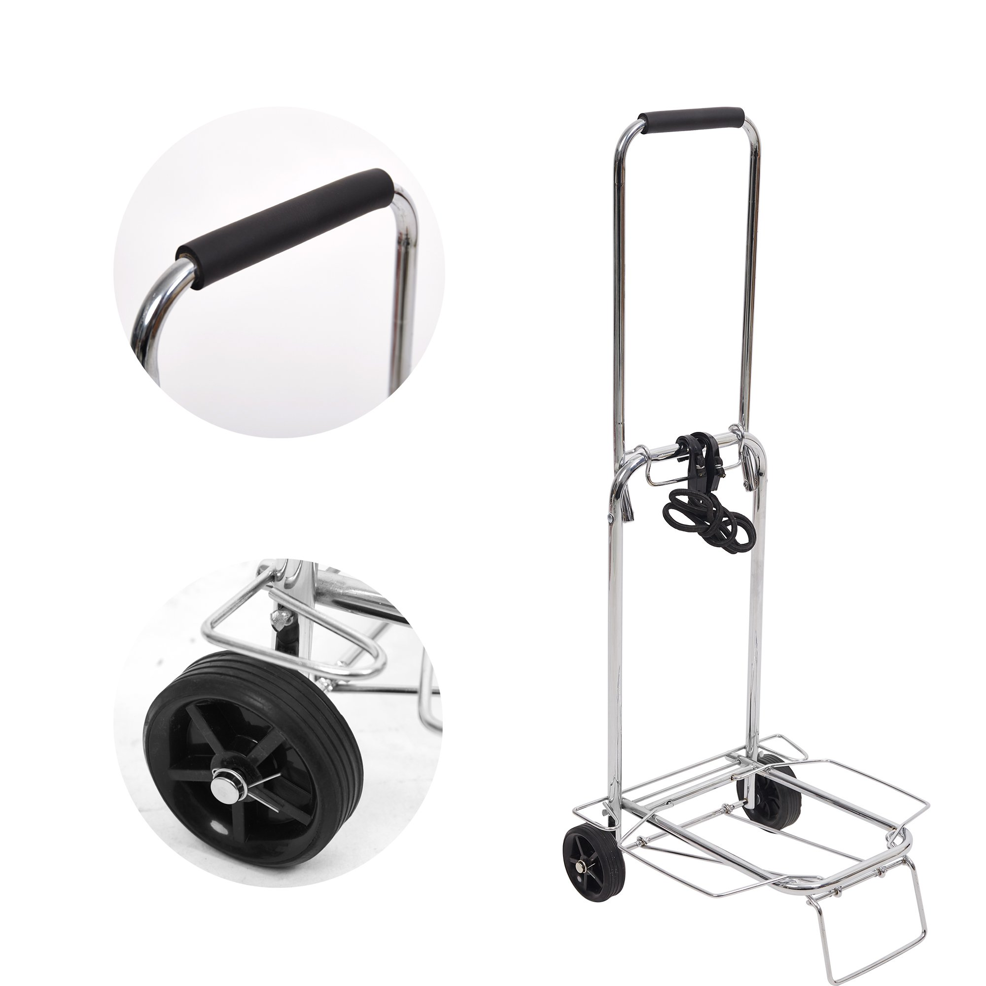 KARMAS PRODUCT Little Shopping Grocery Cart Lightweight Folding Hand Truck with Strap 50 Kg/110 lbs,11.8''x13.8''x35.4''