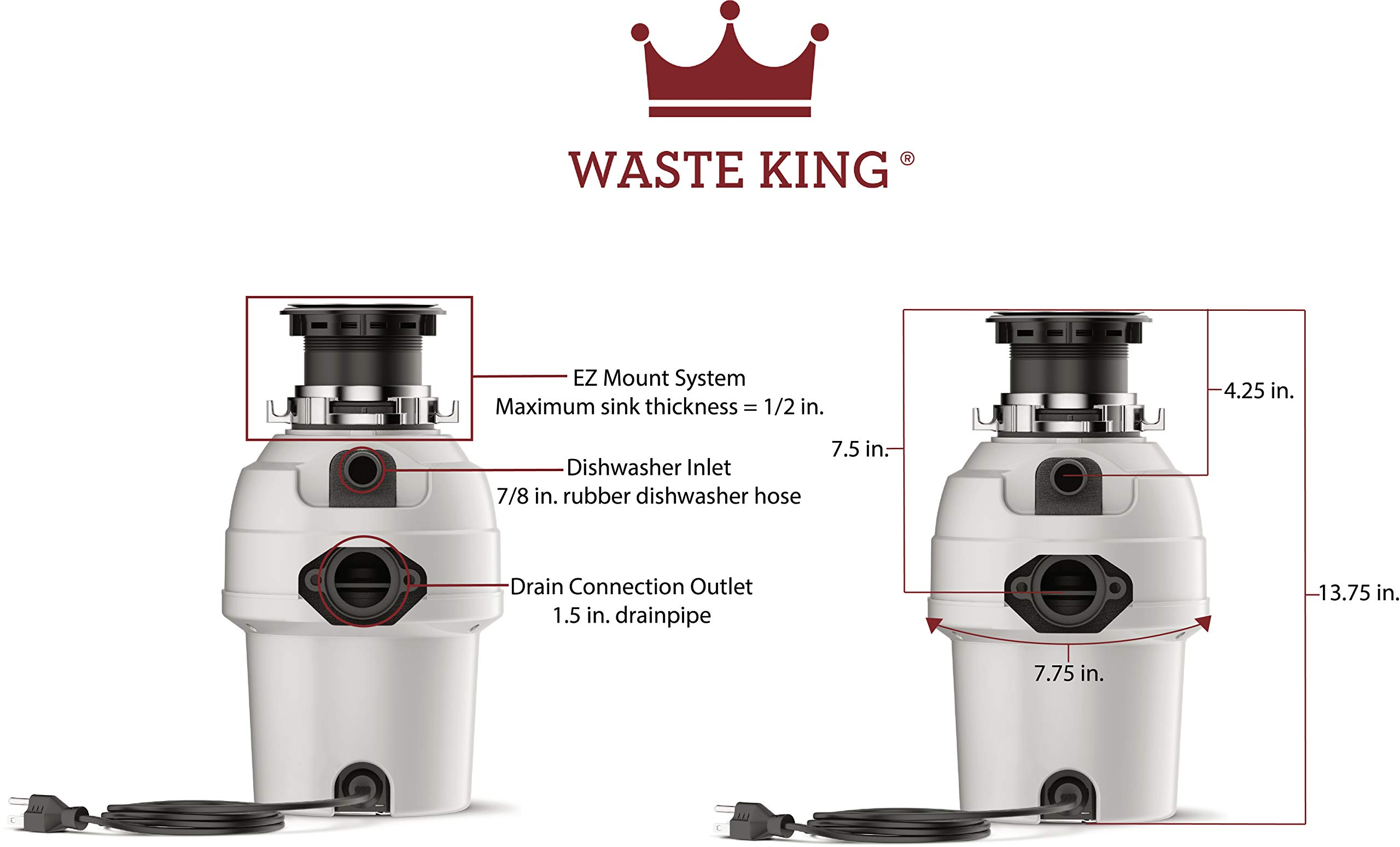 Waste King 3/4 HP Garbage Disposal with Power Cord - (L-3200).