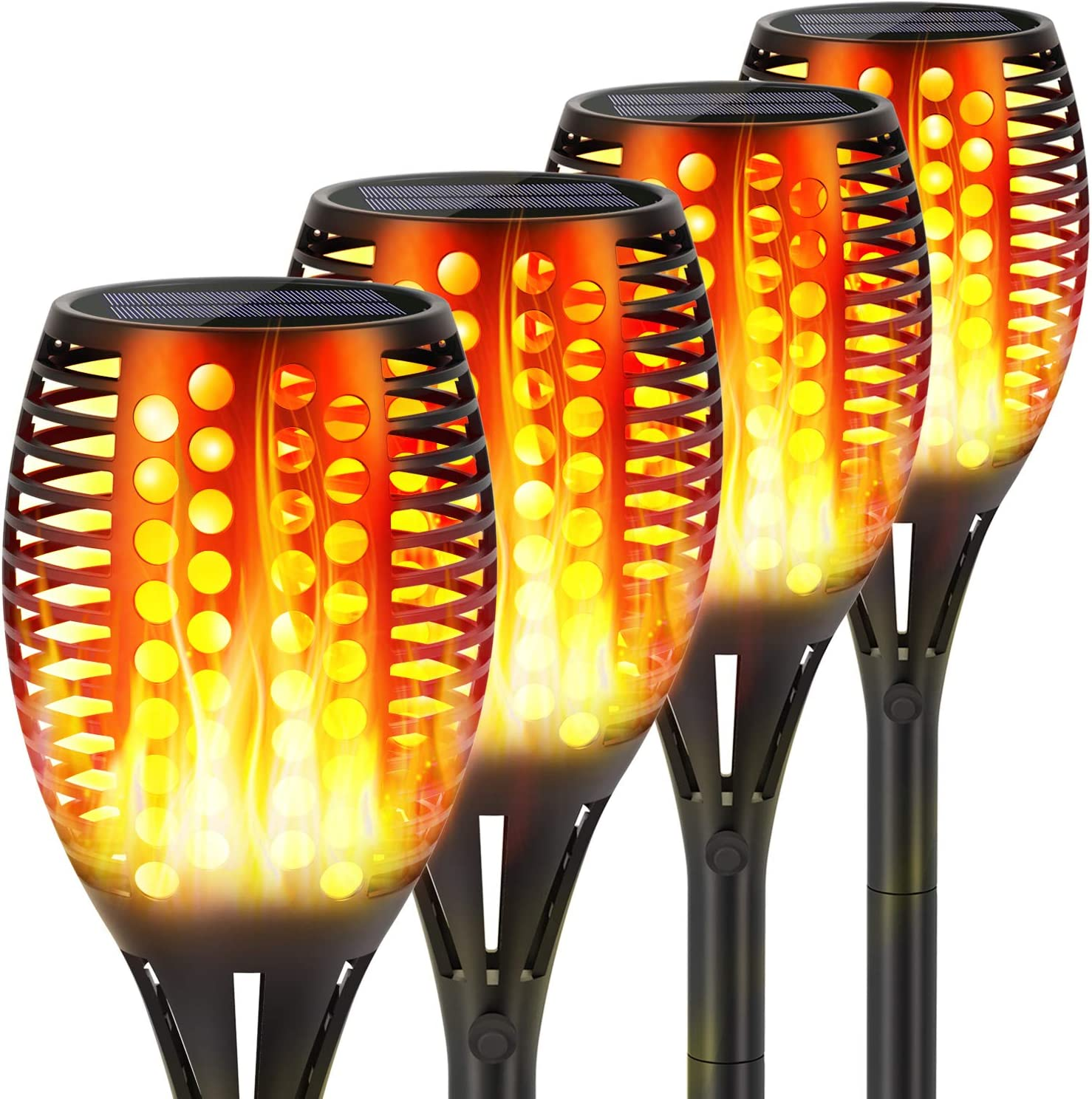 Upgraded Solar Torch Lights, Super Bright LED Waterproof Flickering Dancing Flames Torches Light Outdoor Solar Landscape Decoration Lighting Dusk to Dawn Auto On/Off Path Lamp (4 Pack-Circle)