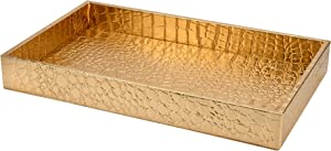 Decor Trends Faux Alligator Leather Bathroom Decorative Vanity Tray Gold Perfume Tray Toilet Tank Storage Tray for Towels, Candles, Jewelry