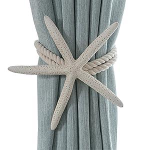 ZILucky 2 Pieces Natural Starfish Curtain Tiebacks Rope Drape Tie Band Drapery Holdbacks Room Décor