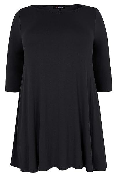 Yours Clothing Women/'s Plus Size Black Envelope Neck Longline Top