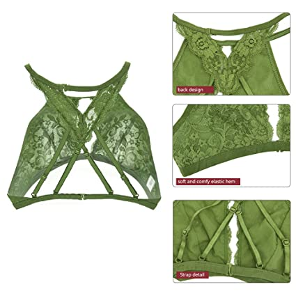 3dabfa44e5788 FRDMBeauty Hollow High Neck Halter Bralette Sexy Lace Babydoll Crop Top  Floral Bra Lingerie For Women  Amazon.co.uk  Clothing