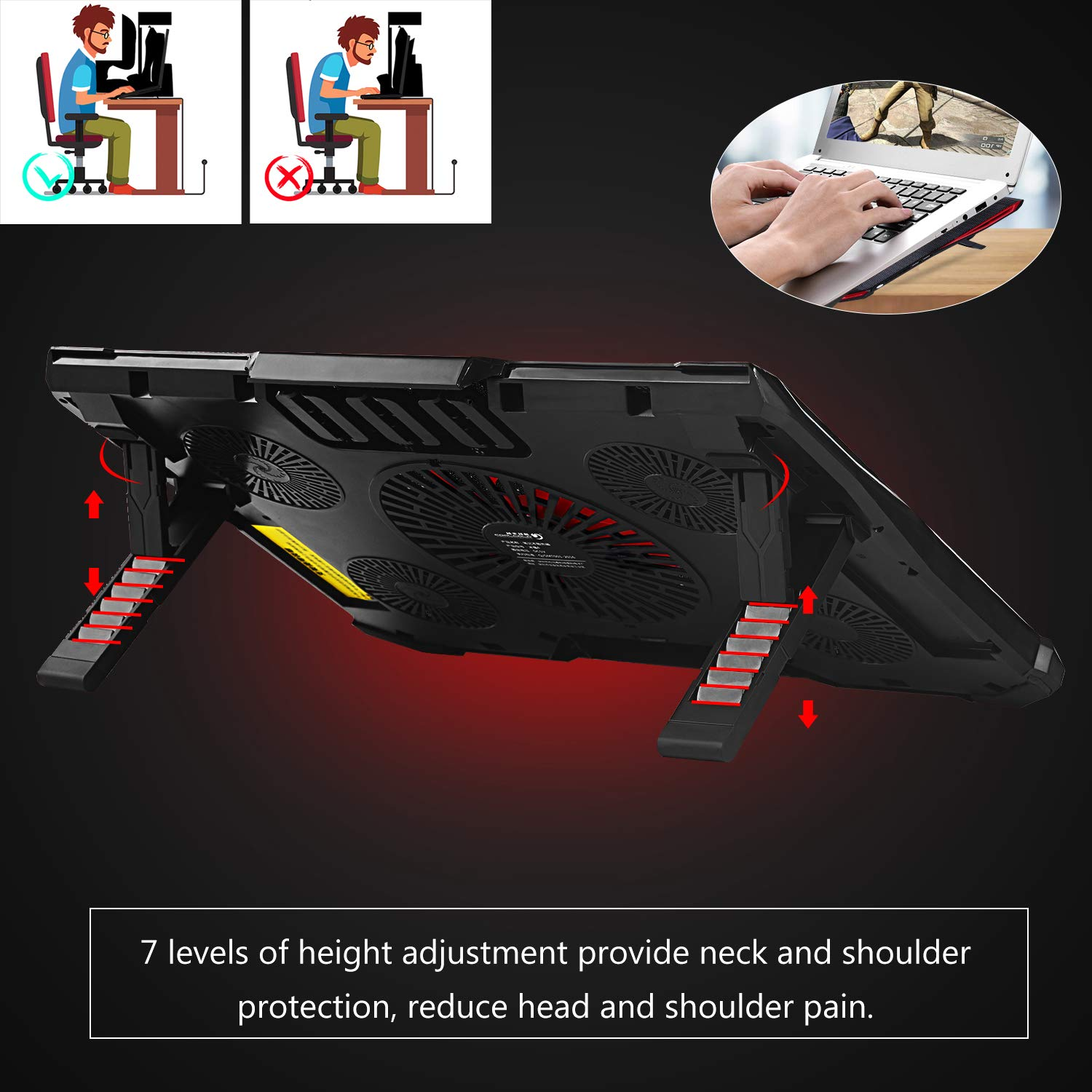 Red LED Light Notebook Cooler with 5 High Speed /& Quiet Fans Max at 2200 RPM Fit 12-17 inch Black+Red Aieruma Laptop Cooling Pad Adjustable Mount Stand /& Fan Speed Controller Dual USB 2.0 Ports