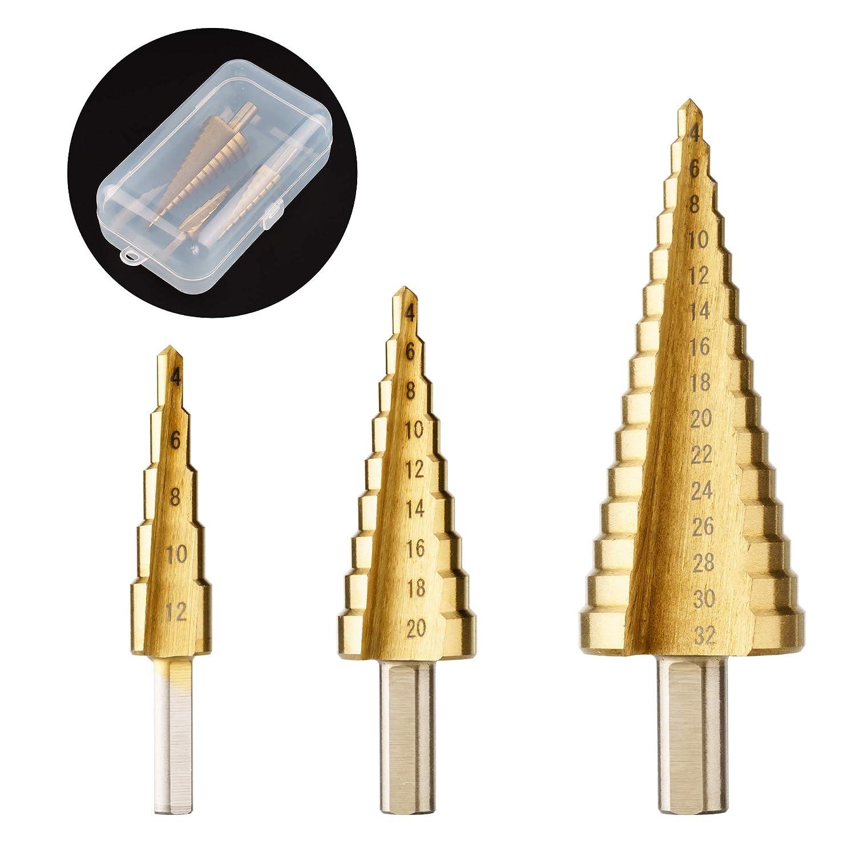 Surplex 3 PCS Broca Escalonada Juego de Brocas Escalonadas para Taladro de Titanio – Acero de Alta Velocidad 4-12/4-20/4-32 mm