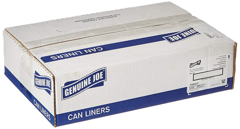 Genuine Joe GJO70057 Slim Jim Can Liners, Low Density, 23 gal, 43'' x 28.50'', 150/Box, Black (5 Boxes of 150)