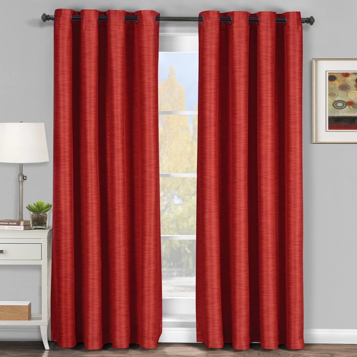 Pair of Two Elegant and Contemporary Galleria Tonal Stripes Top Grommet Blackout Thermal Insulated Panels, Triple-Pass Foam Back Layer, Red, Set of Two 54 by 108 Panels 108 by 108 Pair