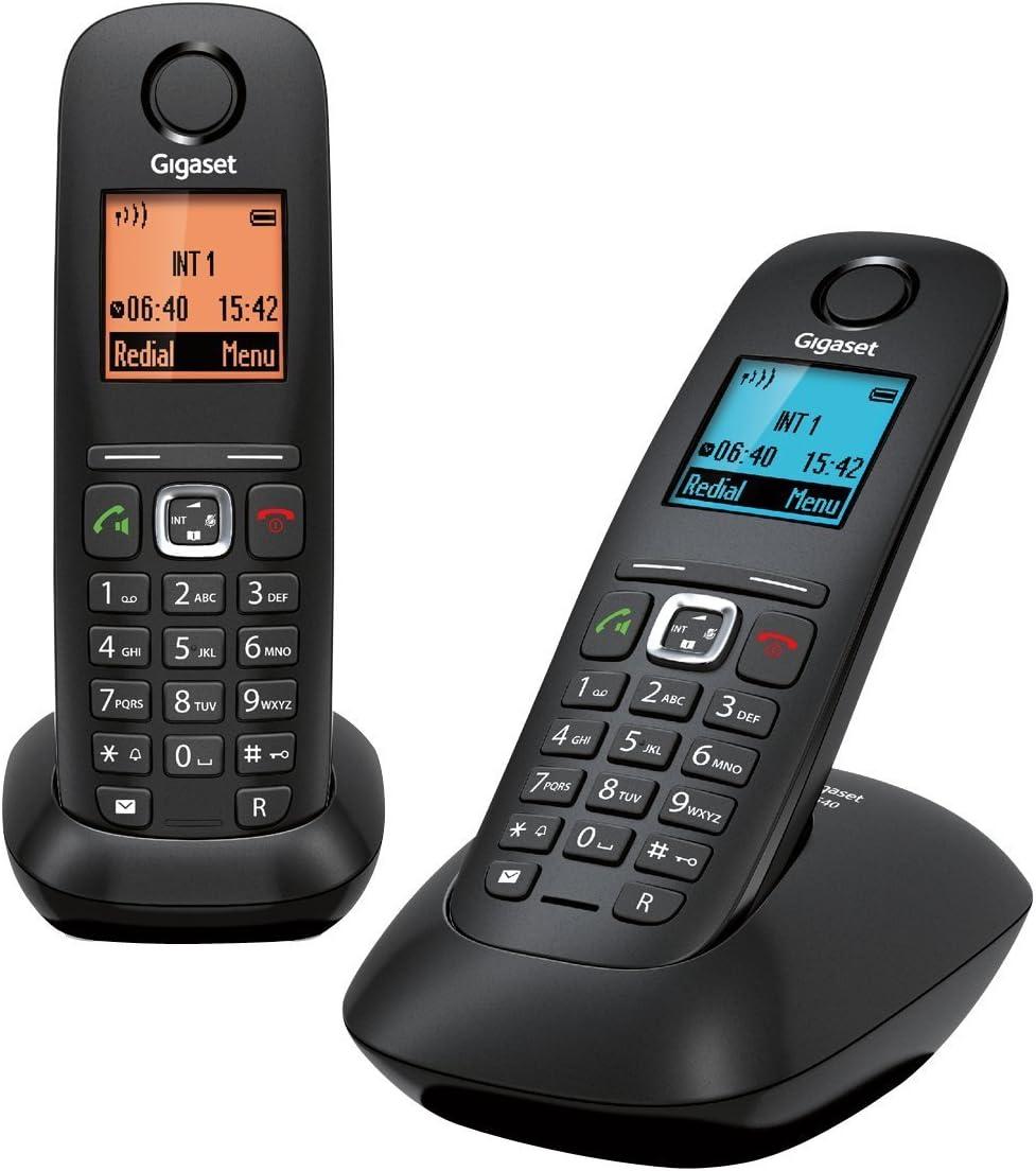 Gigaset Gigaset A540 Duo - Pack de 2 teléfonos Fijo inalámbricos (Manos Libres,DECT/Gap), Negro [Versión Importada]