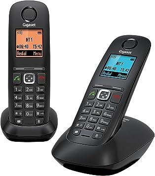 Gigaset Gigaset A540 Duo - Pack de 2 teléfonos Fijo inalámbricos (Manos Libres,DECT/Gap), Negro [Versión Importada]: Amazon.es: Electrónica