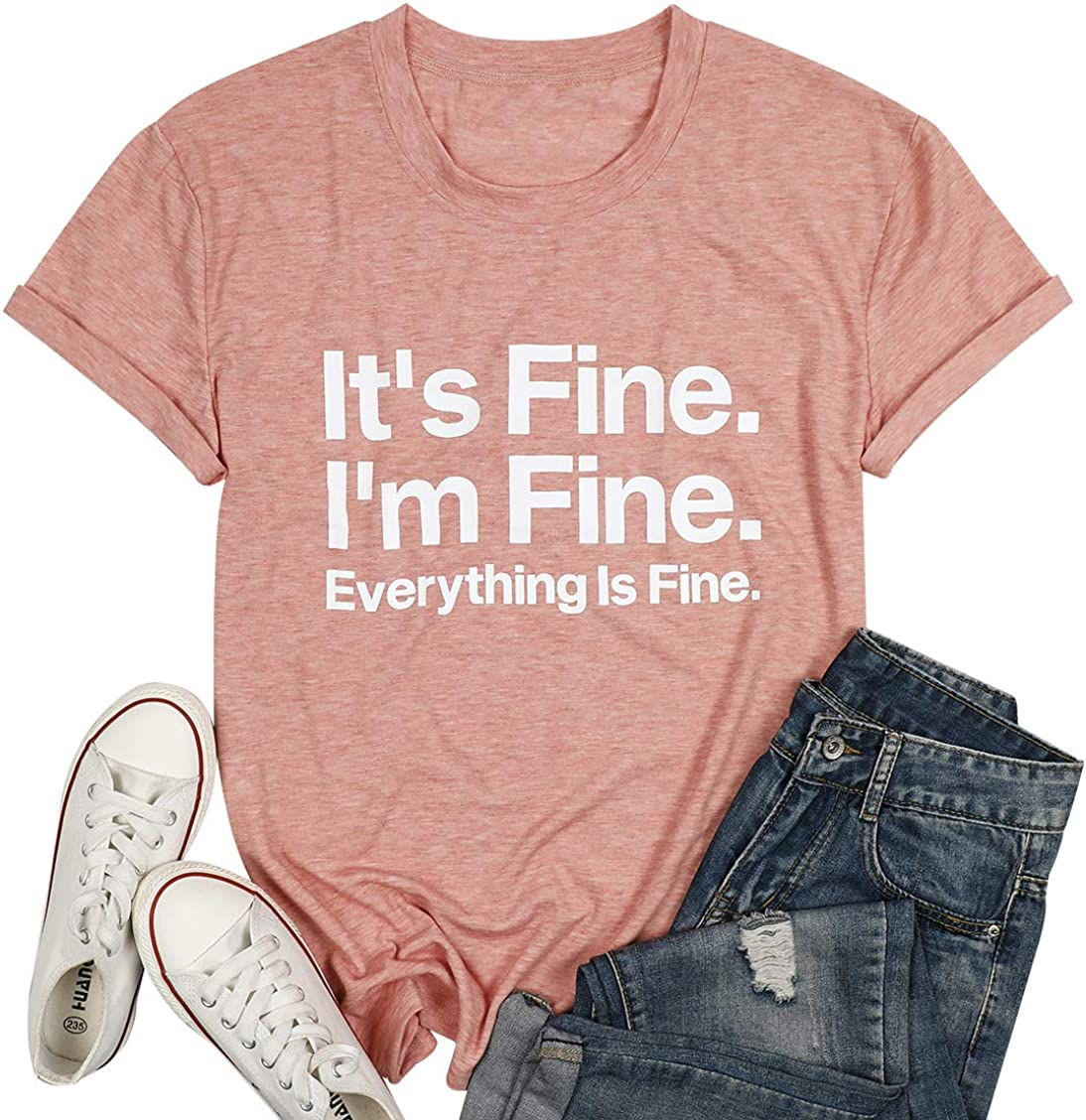 It's Fine I'm Fine Everything is Fine Shirt for Women Inspirational T-Shirt Letter Print Tee Short Sleeve Tee Tops