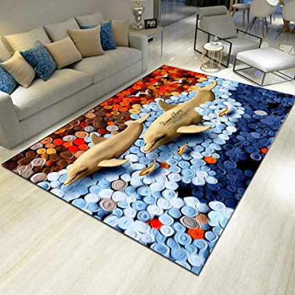 TZZ 3D Fashion Rug Easy To Clean Stain Fade Resistant Soft Living Dining Room Underwater