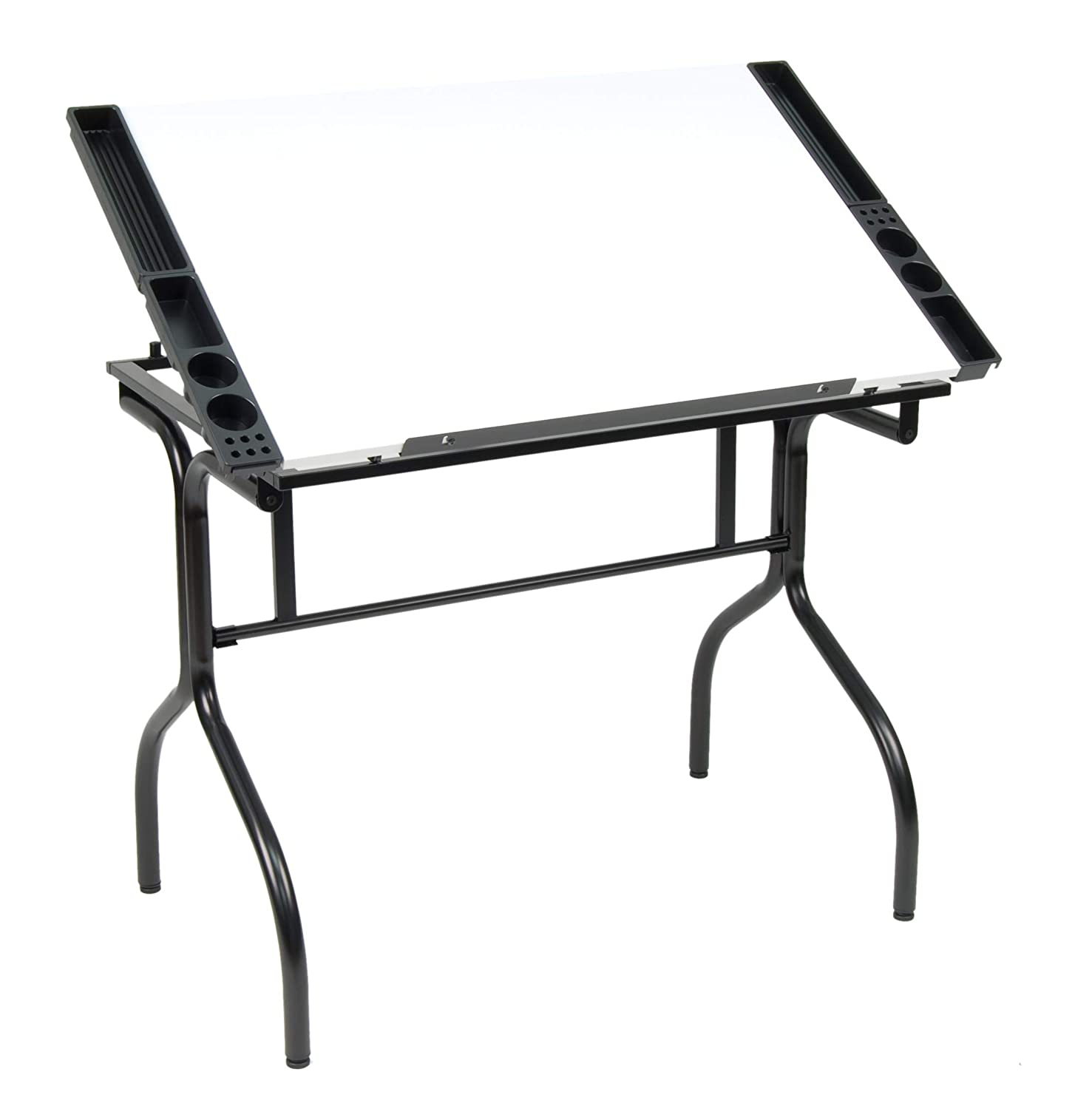 "Studio Designs Folding Modern Top Adjustable Drafting Table Craft Table Drawing Desk Hobby Table Writing Desk Studio Desk, 35.25"" W x 23.75"" D, Black / White"