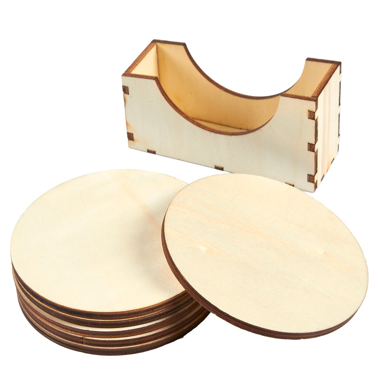 Wood Coasters - 6-Pack Round Wooden Drink Coasters with Holder, Unfinished Wood Circle Cup Coasters for Home Kitchen, Office Desk, 3.875 Inches Diameter