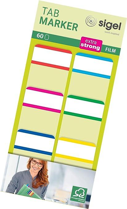 60 feuilles de 3,8 x 2,5 cm Sigel HN201 Marque-pages rigides Tab Marker en film transparent 6 couleurs
