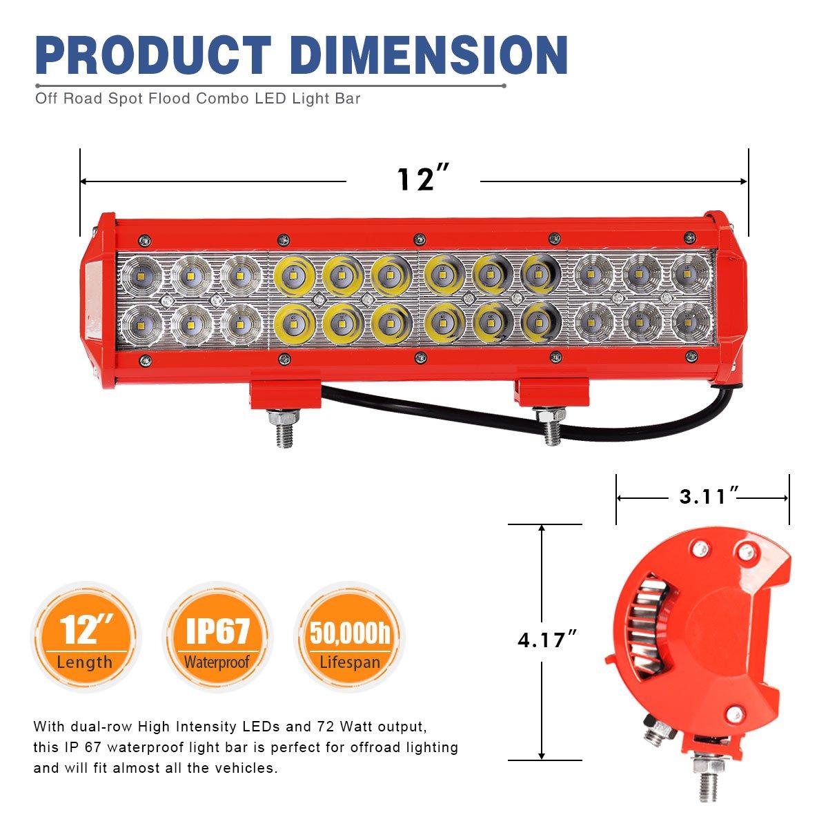 Amazon.com: LED Light Bar Wiring Harness,YITAMOTOR 12inch 72W Red ...