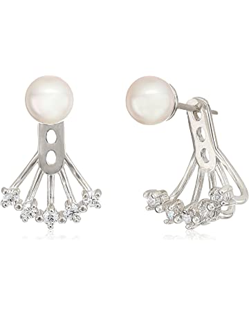 ab390a77f Majorica Womens 6mm Round Pearl on a Sterling Silver Ear Jacket Earrings