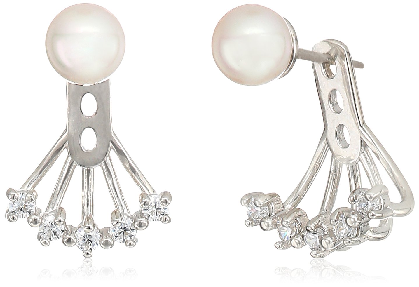 Majorica 6mm White Round Pearl On A Sterling Silver Earring Jacket