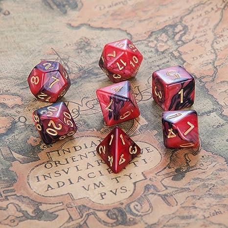 CLX Dados, Dados Conjunto, Dados Juegos, los niños de Plata Turquesa acrílico poliédricas Cubos de Colores Mixtos 7 PC/fijado para el Juego de rol RPG Junta Dragón Juegos Cubo mágico,F: Amazon.es: Deportes