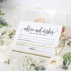 Bliss Collections Mad Libs Advice and Wishes Cards for the New Mr and Mrs, Bride and Groom, Newlyweds, Perfect Addition to Your Wedding Reception Decorations or Bridal Shower, Pack of 50 4x6 Cards