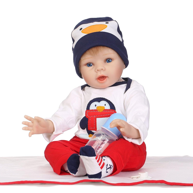 ピンキーペンギンLifelikeソフトボディRebornベビー人形22インチ55 cm Real Lookingハンドメイドビニールシリコン赤ちゃん女の子または少年Dolls磁気口withダミーアクセサリー   B07BCZTMD2