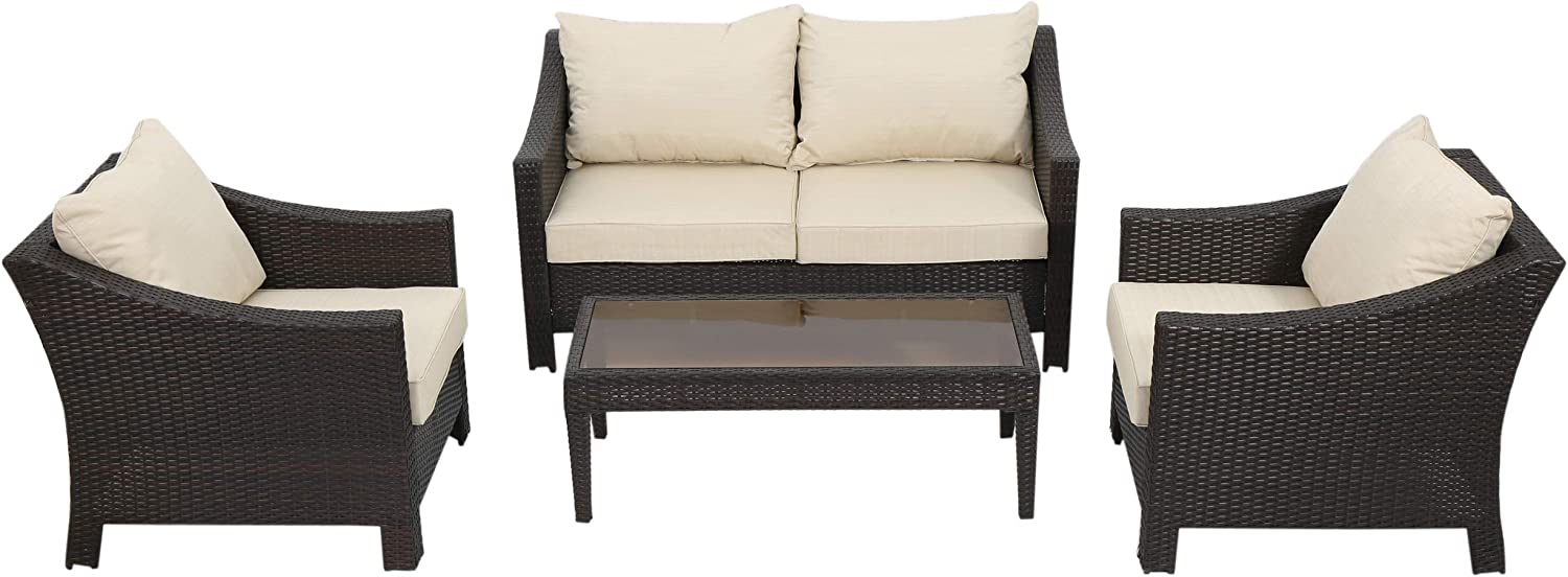 Christopher Knight Home 296063 Caspian 4 Piece Outdoor Wicker Furniture Patio Chat Set, Brown