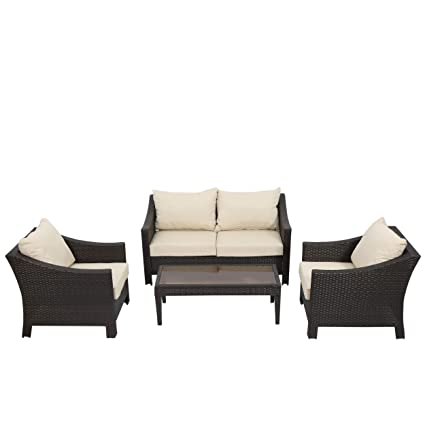 Caspian 4 Piece Outdoor Wicker Furniture Patio Chat Set - Amazon.com: Caspian 4 Piece Outdoor Wicker Furniture Patio Chat Set