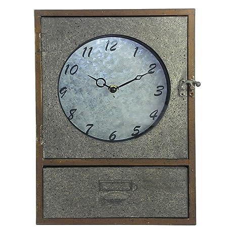 Amazon.com: Industrial Galvanized Steel Metal Clock Mantel Cabinet ...