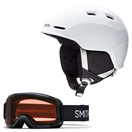 Amazon.com: Smith Zoom Jr. Snow Helmet (White, Small) with Black ...