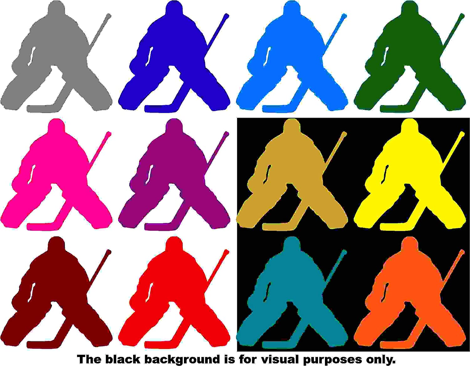 Sports Hockey Goalie Decal Sticker Vinyl Car Window Tumblers Wall Laptops Cellphones Phones Tablets Ipads Helmets Motorcycles Computer Towers V and T Gifts