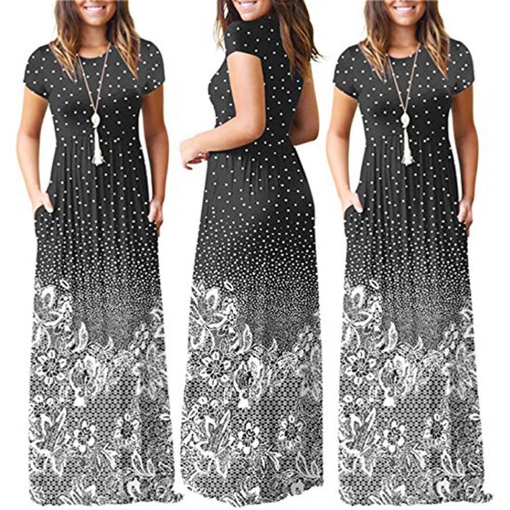 Rambling Popular Women's Sleeveless/Short Sleeve Maxi Dress Floral Print Causal Long Dress with Pocket by Rambling (Image #3)