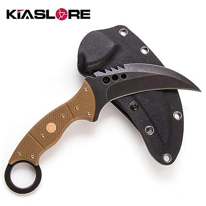 Amazon.com: KIASLORE Cuchillo de acero D2 para caza y ...