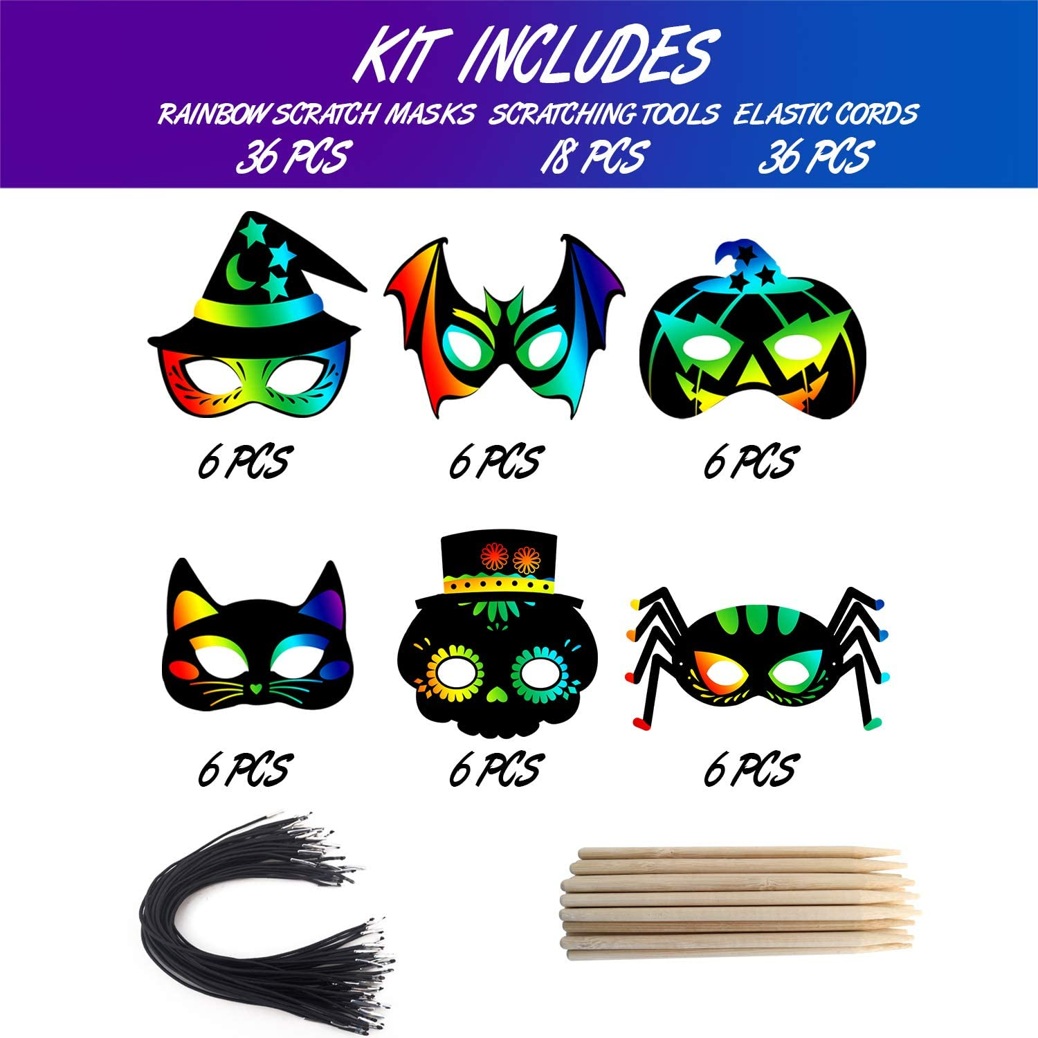 OuMuaMua 30PCS Halloween Rainbow Scratch Mask Art Craft Kit Bat Witch Pumpkin Zombie Pirate Skull Scratch Paper Art Mask for Halloween Party Crafts Classroom Decorations
