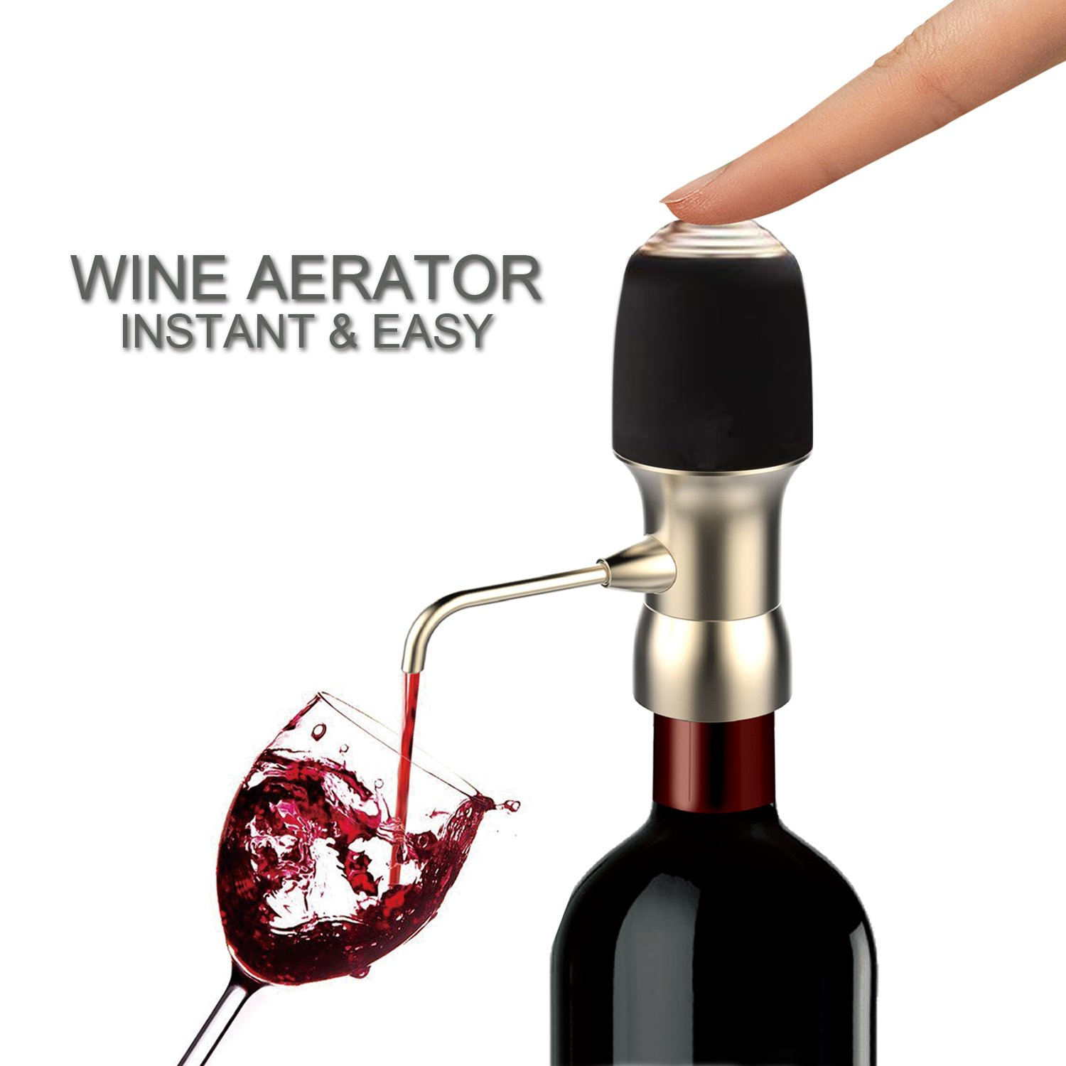 Wine Air Aerator, Spedal 1-Button Aeration & Decanter Electric Wine Aerator, Wine Aerator Pourer, Wine Decanter Aerator, Red Wine Aerator for Wine Bottle, Enhance Wine Flavor, Wine Gift