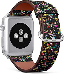 Compatible with Apple Watch 38mm & 40mm (Series 5, 4, 3, 2, 1) Leather Watch Wrist Band Strap Bracelet with Stainless Steel Clasp and Adapters (Dragonflies Your Design)