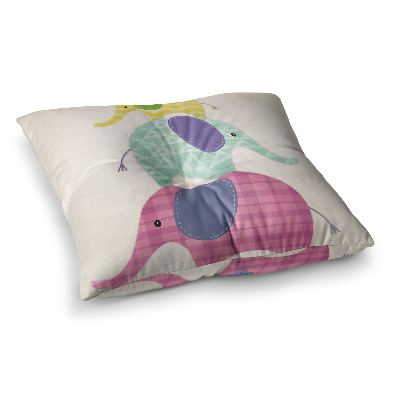 26 x 26 Square Floor Pillow Kess InHouse Noonday Design Balancing Act Multicolor Kids