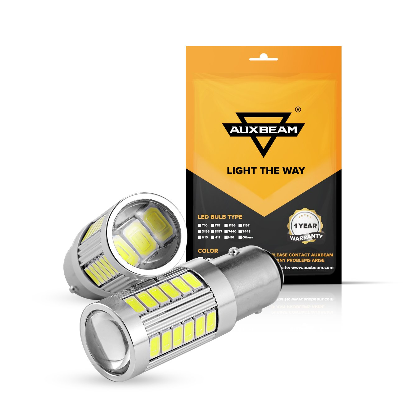 Auxbeam Super Bright 7443 T20 Led Bulbs W21/5W 33SMD 5630 Chipsets Led Light Bulbs for Turn Tail Brake Stop Signal Reverse Lights, Xenon White (Pack of 2)