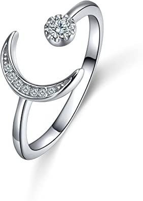 Whcreat Moon 925 Sterling Silver Ring For Girls Women Sparkly Cubic Zirconia Adjustable Open Rings Amazon Co Uk Jewellery