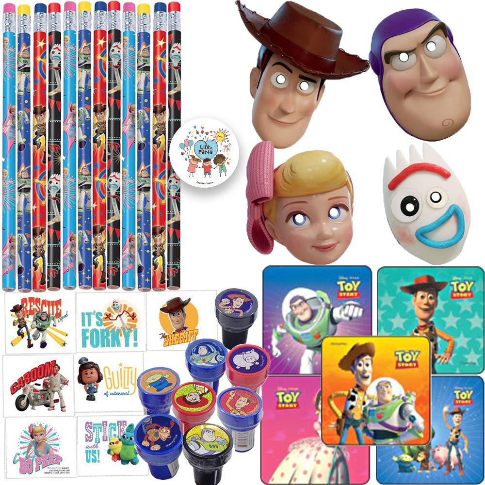 Toy Story Birthday Party Favors and Goodie Bag Fillers Pack For 16 Guests With Toy Story Masks, Pencils, Tattoos, Stickers, Stampers, and Exclusive Pin