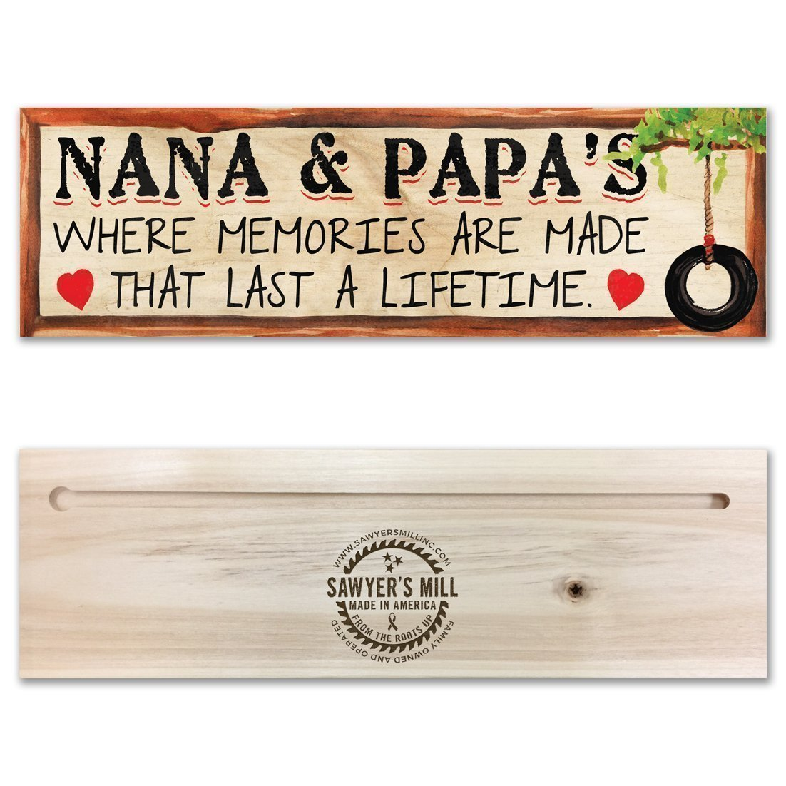 Nana and Papa's, Where Memories are Made that Last a Lifetime | 4-inch by 12-inch | Handmade Wood Block Sign with Grandparents Quote Nana and Papa' s