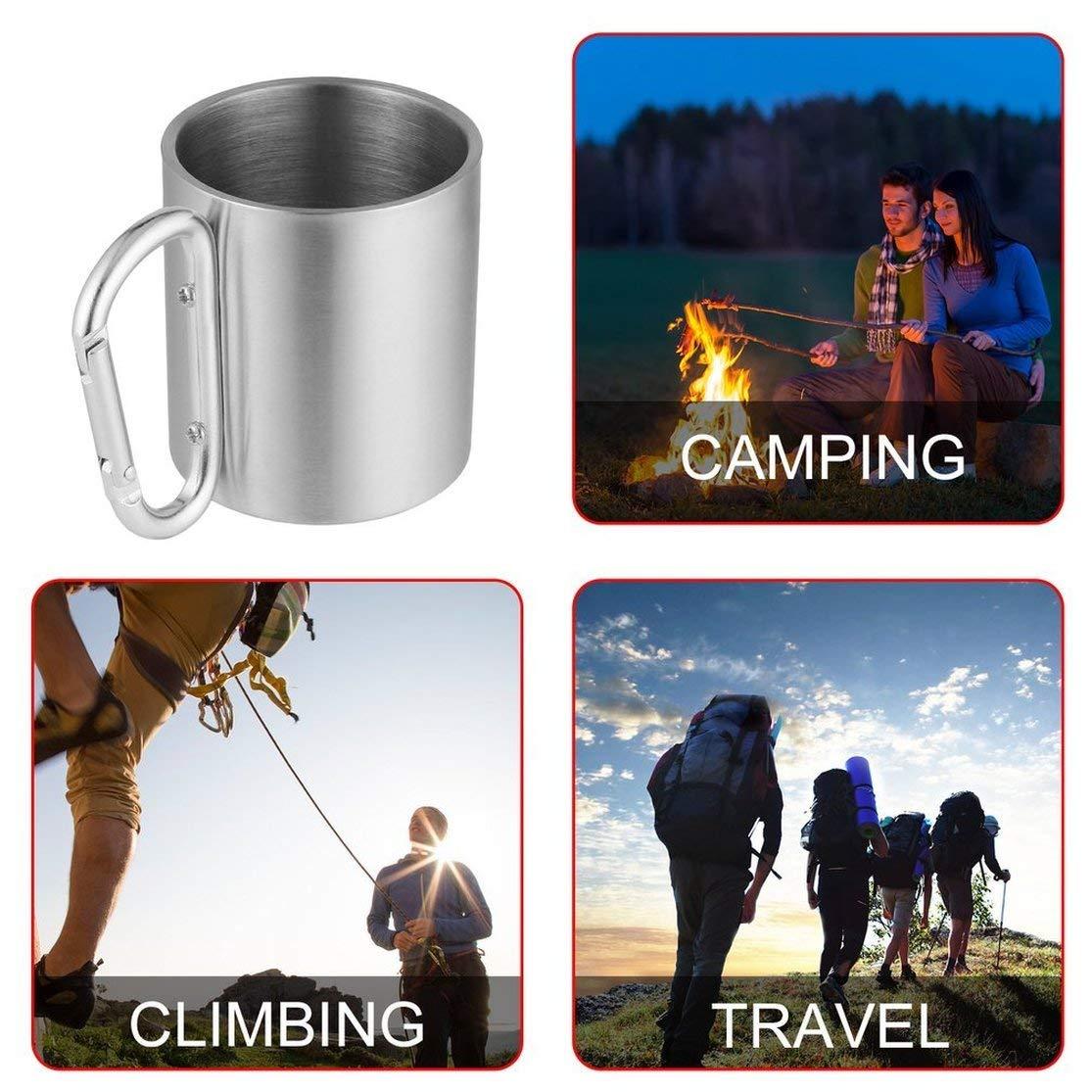 LouiseEvel215 Outdoor Edelstahl Wasser Tee Kaffeetasse Self Lock Karabiner Griff Tasse F/ür Camping Wandern Klettern Tragbare