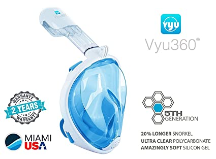 Vyu360 Snorkel Full Face Mask with Camera Mount Small/Medium Extra Long Snorkel 5th Generation