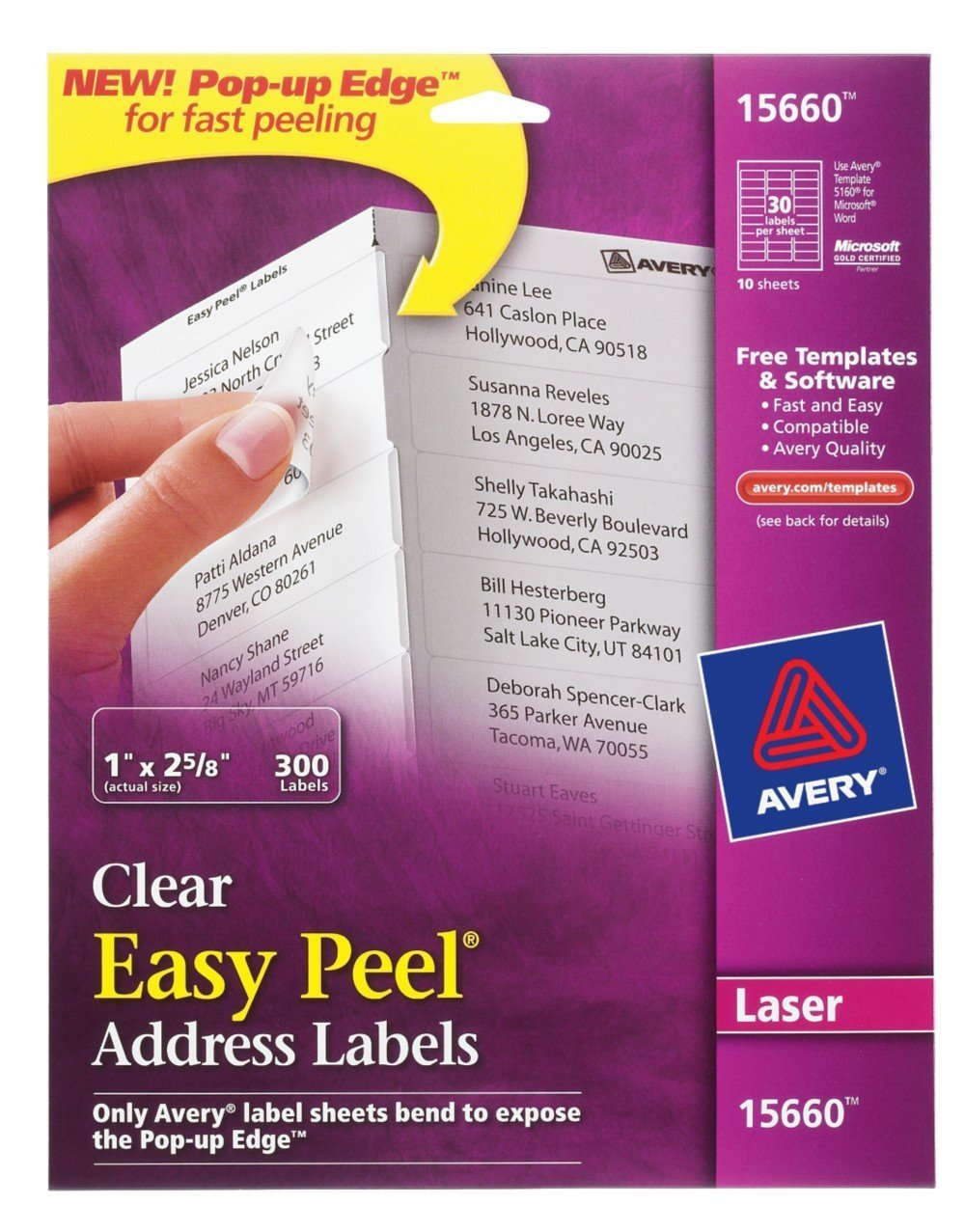 amazon com avery easy peel clear address labels for laser printers