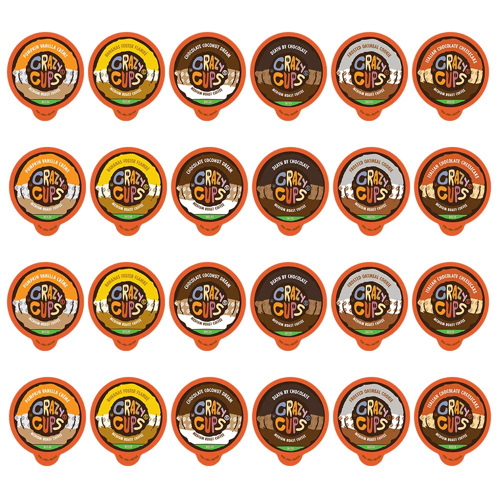 Flavored Decaf Coffee Pods, Flavor Lovers Decaffeinated Coffee Variety Pack, Single Serve Pods for Keurig K Cups Coffee Makers, from Crazy Cups, 24 Count