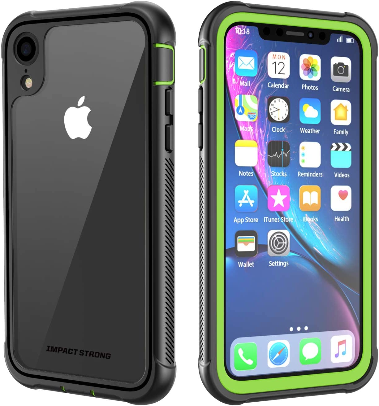 ImpactStrong iPhone XR Clear Case, Ultra Protective Case with Built-in Clear Screen Protector Clear Transparent Full Body Cover for iPhone XR 2018 6.1 inch (Lime Green)