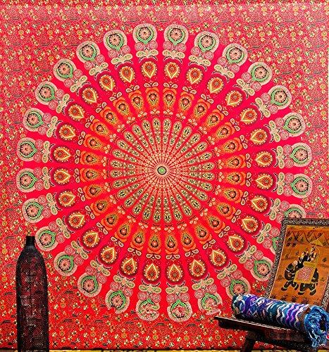 Red Peacock Mandala Tapestry Dorm Decor Hippie Wall Hanging Tapestries Bedding Bohemian Throw Bedspread Bed Cover Hippie Wall Tapestry Picnic Blanket Beach Towel by Jaipur Handloom by Jaipur Handloom (Image #2)