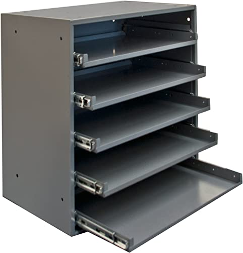 Durham 305B-95 Cold Rolled Steel Heavy Duty Triple Track Bearing Slide Rack FOR 5 Large Compartment Boxes, 375 lbs Capacity, 12-1 2 Length x 20-1 2 Width x 21 Height, Gray Powder Coated Finish. Slide Rack does not come with compartment boxes which are sold separately.