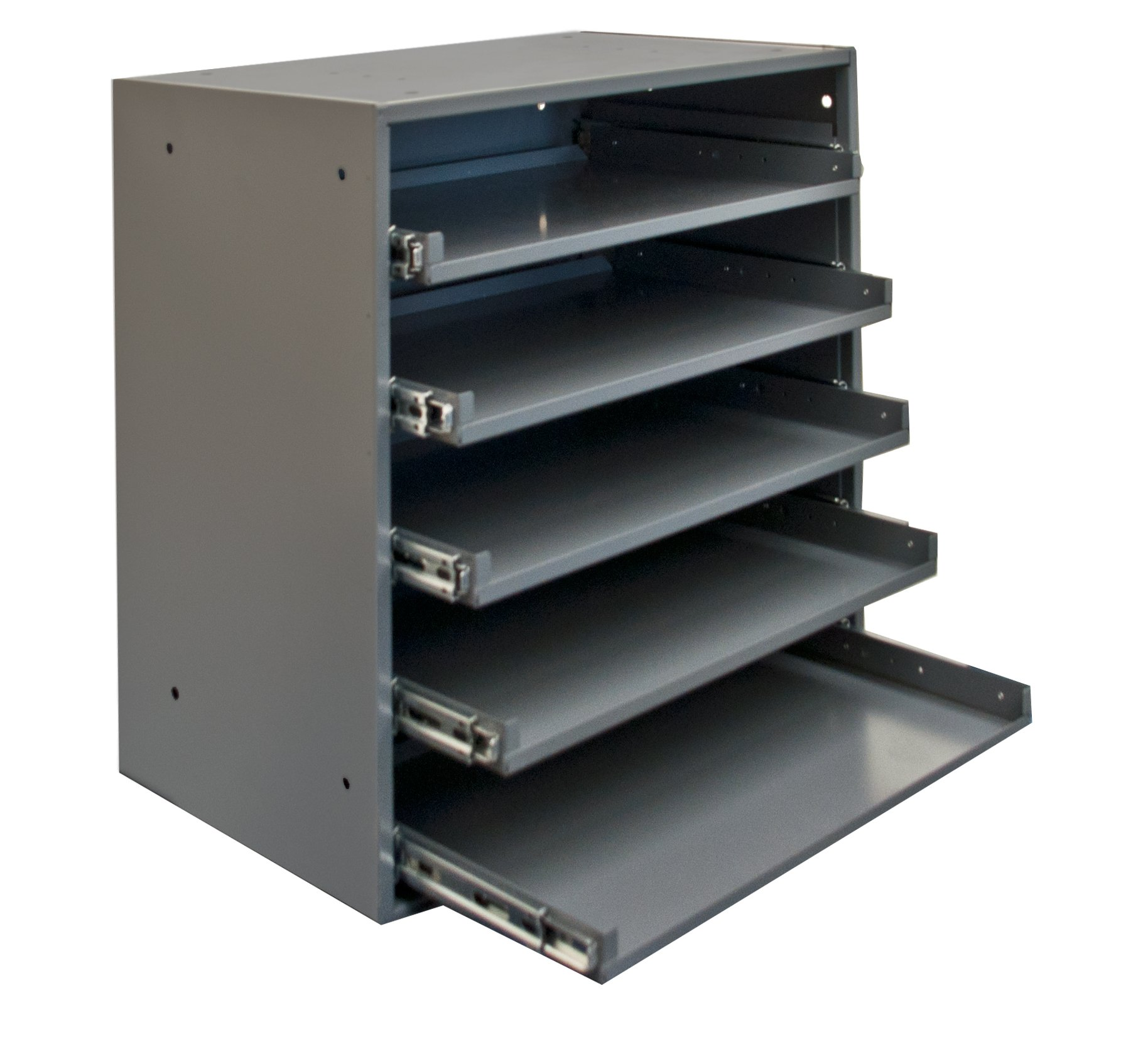 Durham 305B-95 Cold Rolled Steel Heavy Duty Triple Track Bearing Slide Rack FOR 5 Large Compartment Boxes, 375 lbs Capacity, 12-1/2'' Length x 20-1/2'' Width x 21'' Height, Gray Powder Coated Finish. Slide Rack does not come with compartment boxes which are