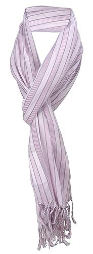 écharpe en rosa gris rayas con refriega - tamaño 180 x 50 cm